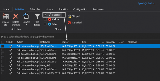 Seeing successful SQL Server database backups in last 7 days