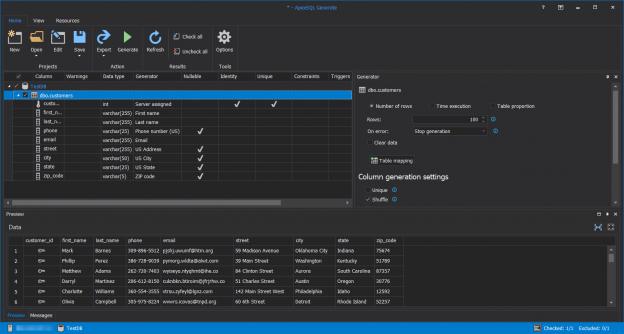 ApexSQL Generate the main window.