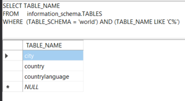 Find all tables in a specific MySQL database which name start with letter C