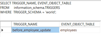 MySQL information_schema database - find triggers