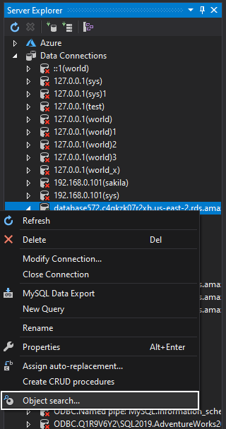 MySQL object search command in the Server Explorer context menu
