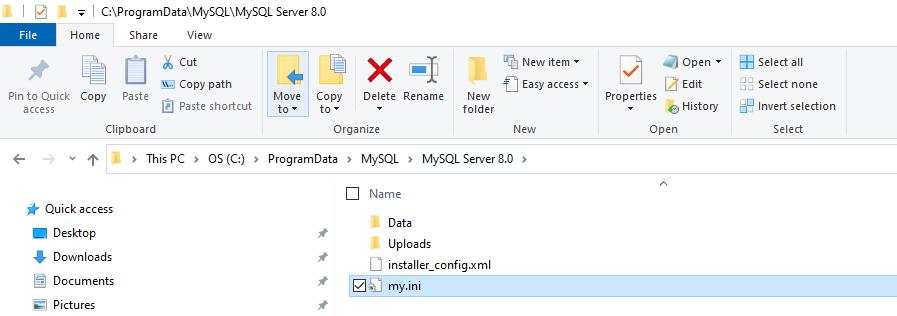 my.ini file