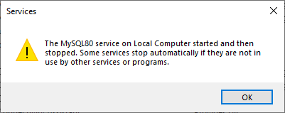 MySQL service warning message
