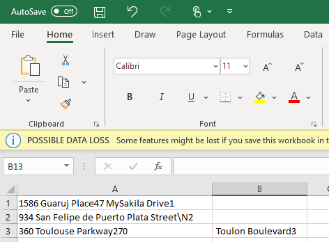 Open exported data in excel