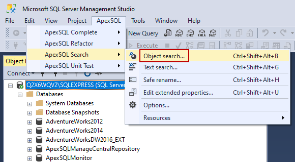Object search command from ApexSQL main menu in SSMS