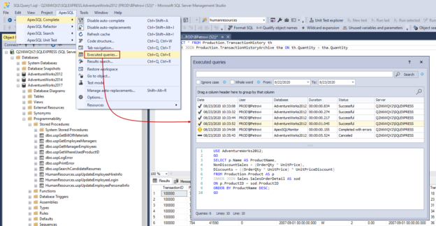 Executed queries option in SSMS