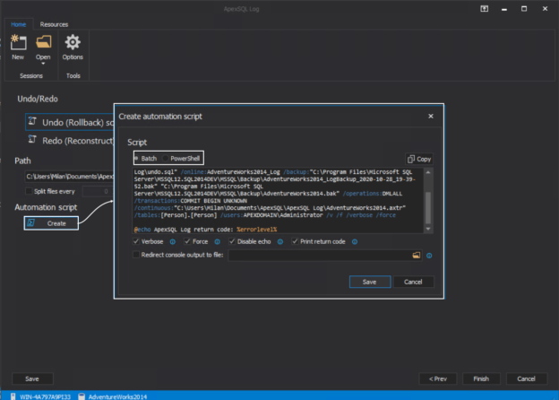 Generating CLI script for generating Undo script from SQL Server transaction log